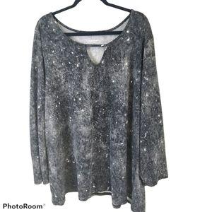 Galaxy Grey Tie-Dye Splatter Girlfriend Tee - 4X